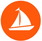 sailboat logo, white on orange, circle, png